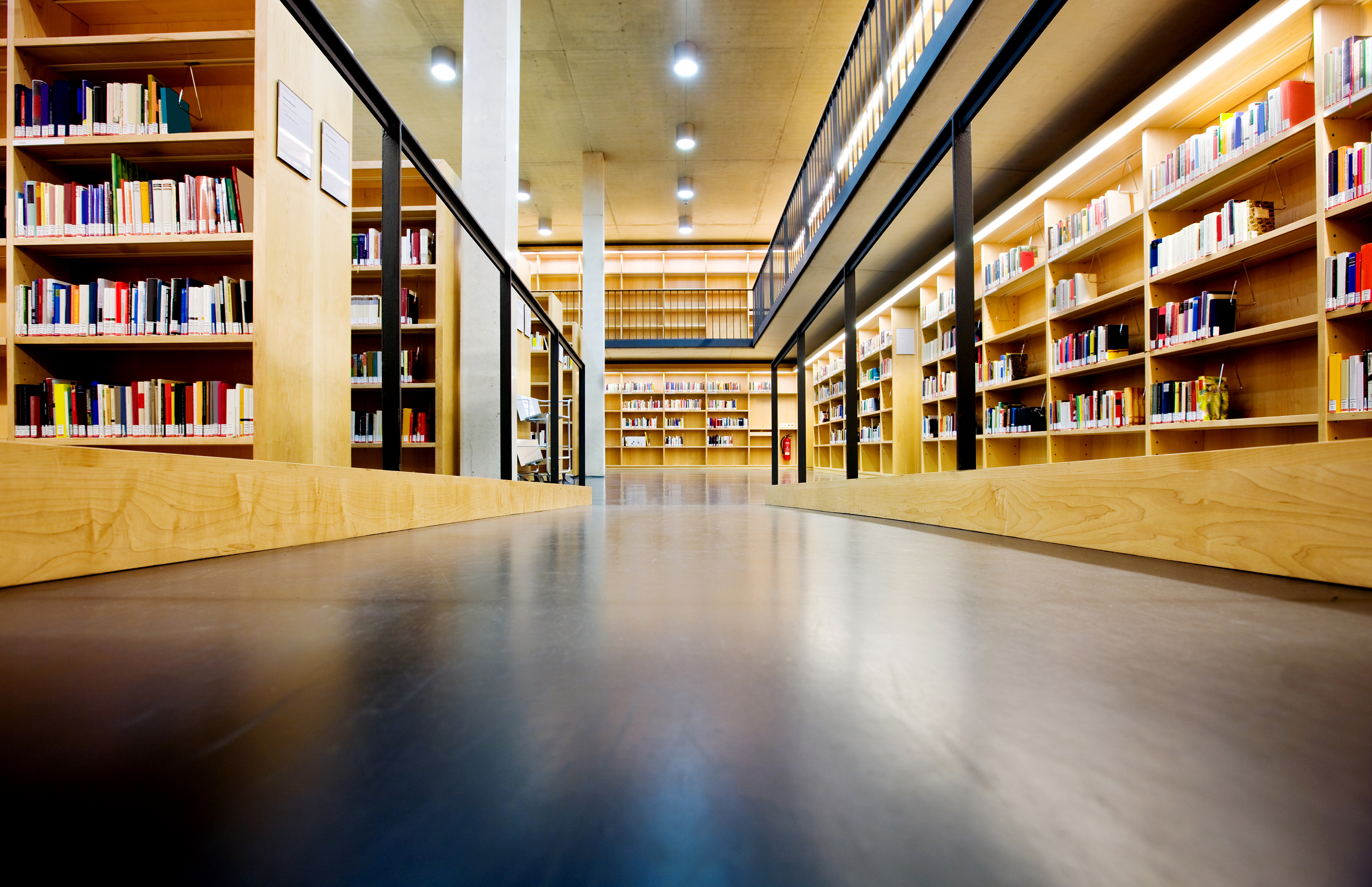 Flooring in a library on post about pros and cons of flooring