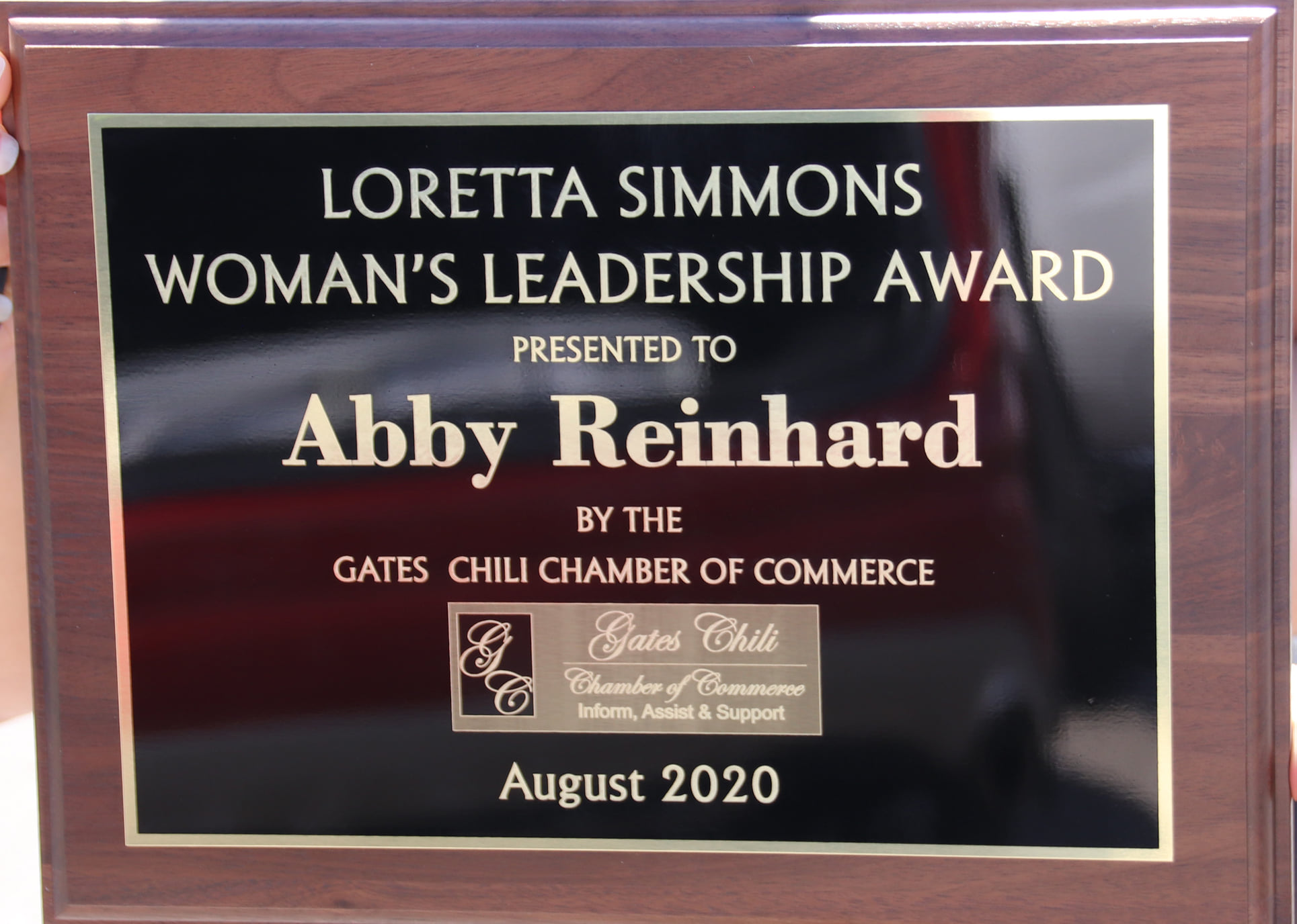 The 2020 Loretta Simmons Women's Leadership Award from the Gates-Chili Chamber of Commerce
